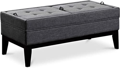 SIMPLIHOME Castlerock 42 inch Wide Rectangle Storage Ottoman Bench Slate Grey Footrest Stool