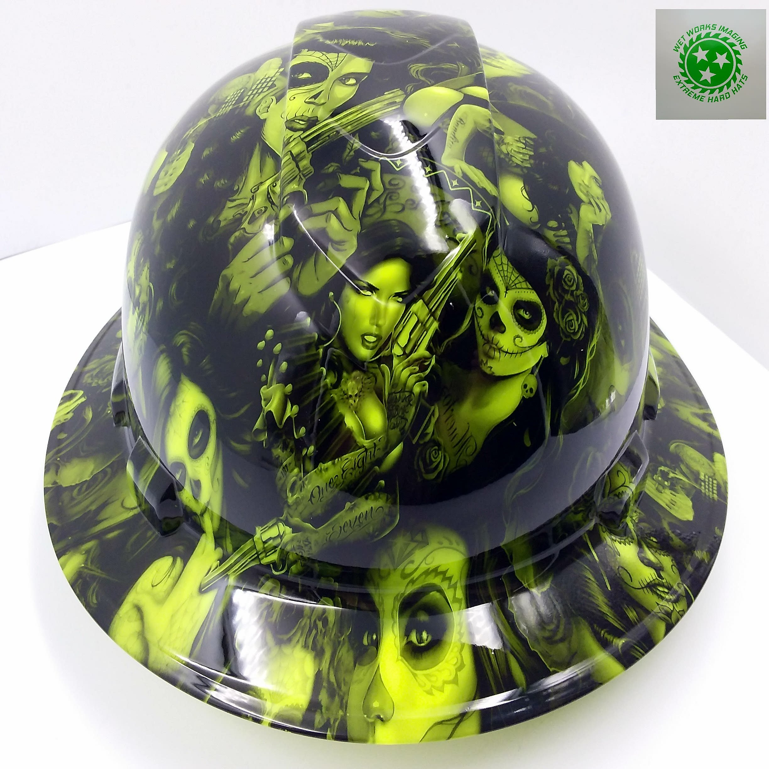 Wet Works Imaging Customized Pyramex Full BRIM NEW GREEN TATTOO BABES HARD HAT With Ratcheting Suspension