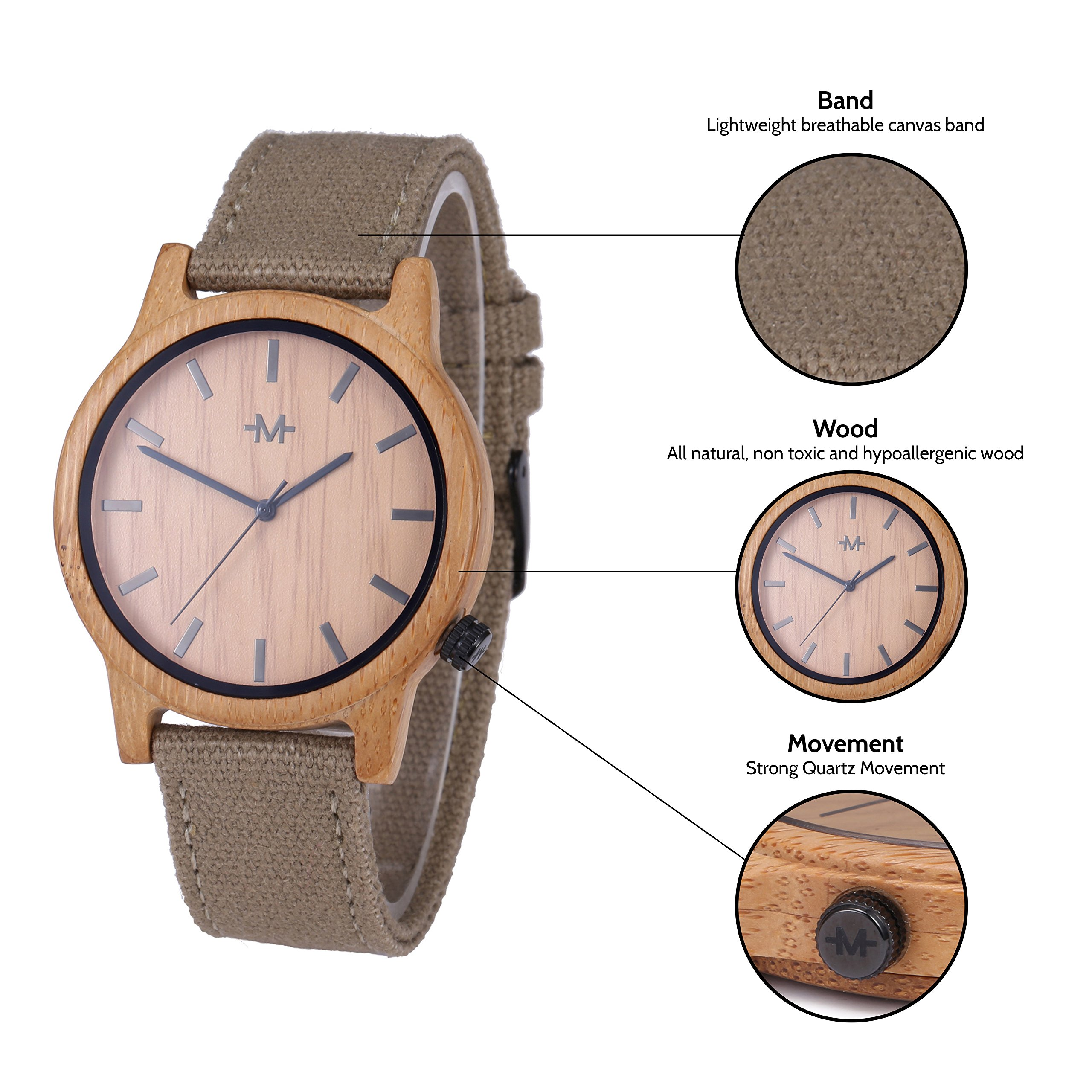 Marino Mens Wooden Watch - Wrist watches for Men - Dress Wood Watch (One Size, Khaki - Canvas Band) by Marino Avenue (Image #3)
