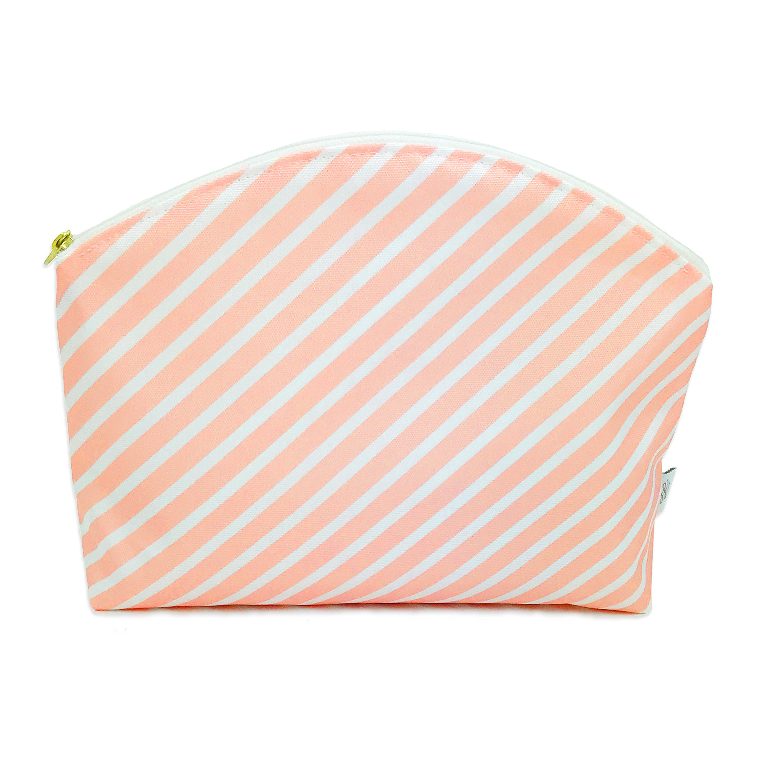 Waterproof Simple Clutch - Travel Toiletry Case, Cosmetic Makeup Bag, Multifunction Purse or Hand Bag Organizer, Diaper Clutch, Small Wet Bag (Blush Stripe)