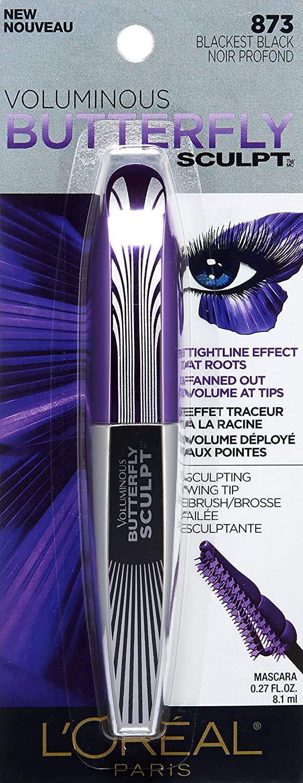 45e6a3c891f Amazon.com : L'Oréal Paris Voluminous Butterfly Sculpt Washable Mascara, Blackest  Black, 0.27 oz. : Beauty