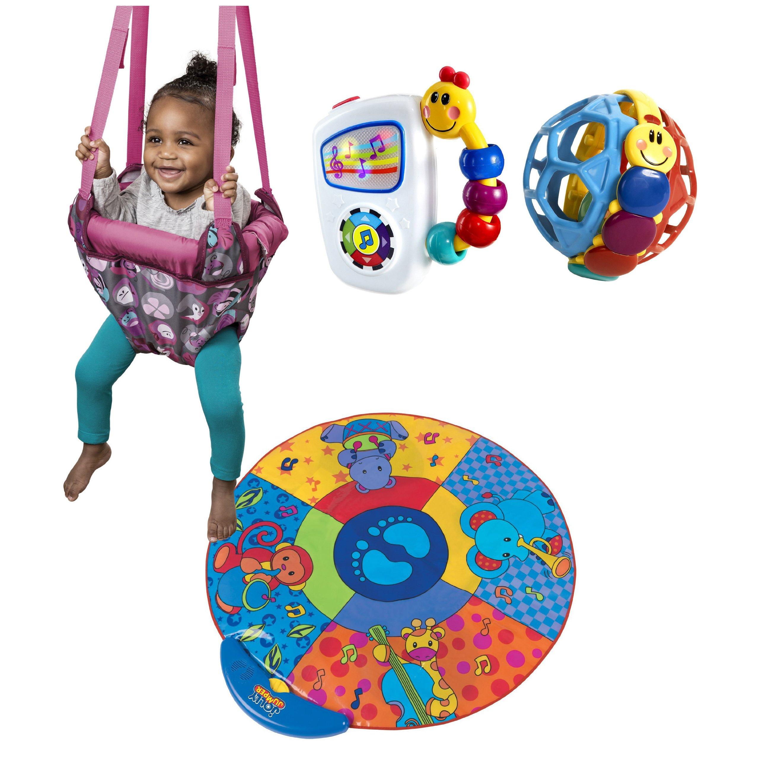 Evenflo Jenny Jump Up Doorway Jumper with Musical Mat & Baby Einstein Activity Toys