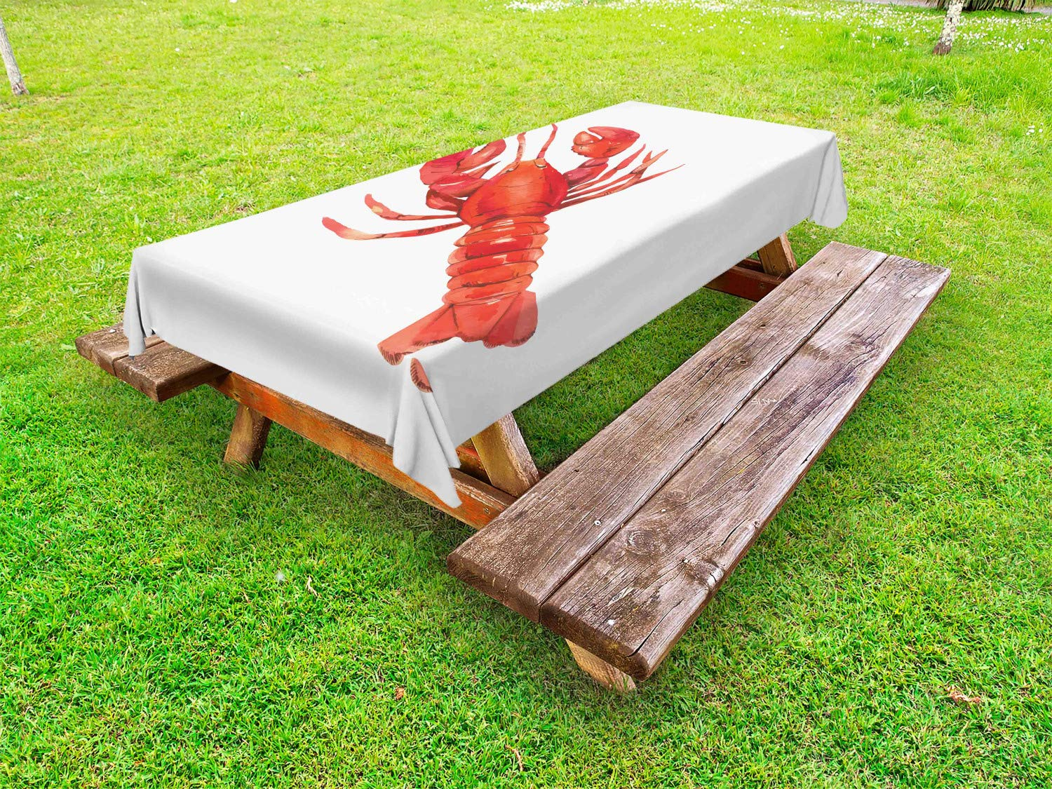 Ambesonne Lobster Outdoor Tablecloth, Watercolor Effect Crustacean Image Mediterranean Sea Food Cuisine Concept, Decorative Washable Picnic Table Cloth, 58'' X 120'', White and Vermilion
