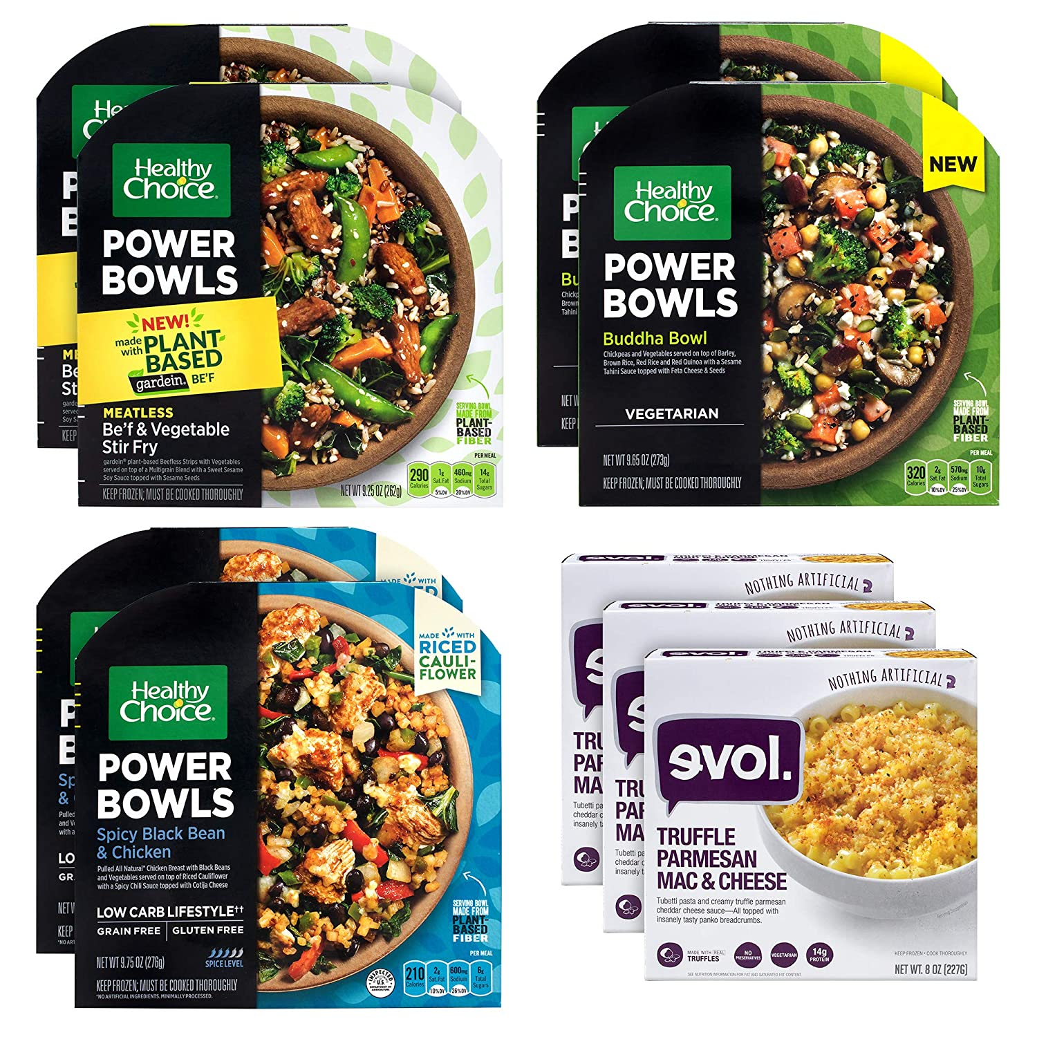 ConAgra Modern Health Frozen Meal Bundle with Healthy Choice Power Bowls and Evol Truffle Parmesan Mac and Cheese
