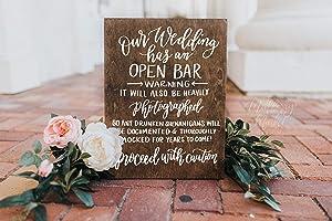 Wedding Open Bar Sign Rustic Wedding Signs Wooden Wedding Sign Wedding Decor 15x11