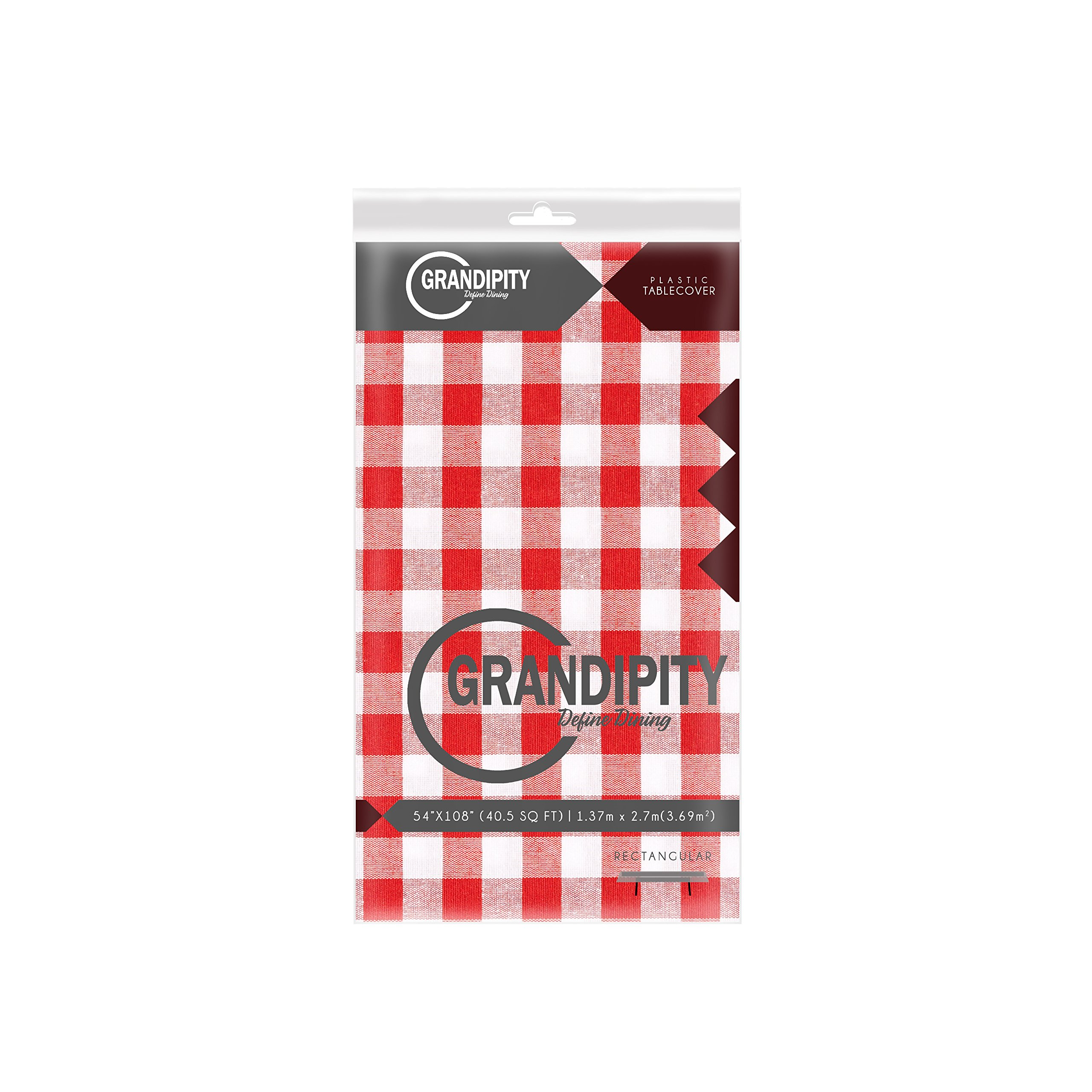 Red Gingham Checkered 12 Pack Premium Disposable Plastic Picnic Tablecloth 54 Inch. x 108 Inch. Rectangle Table Cover By Grandipity by Grandipity (Image #2)