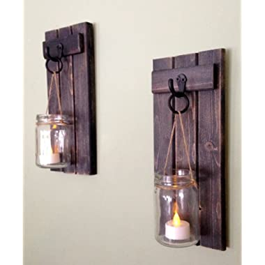 Rustic Wall Decor, Wall Sconce, Rustic Wall Sconce, Candle Holder, Rustic Wooden Candle Holder, Black Set Of Two, 12 x5 , in Weathered Black!