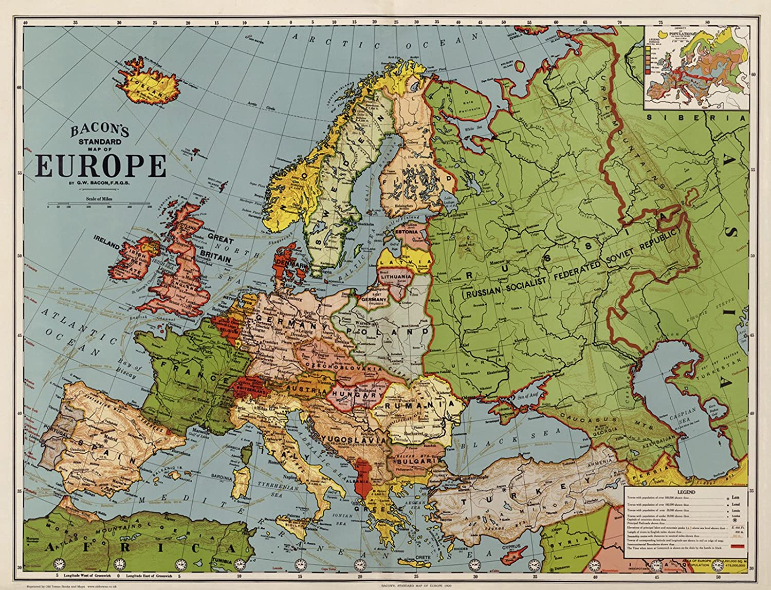 Old Map of Europe in 1920 (76x58cm) by GW Bacon - Reprint