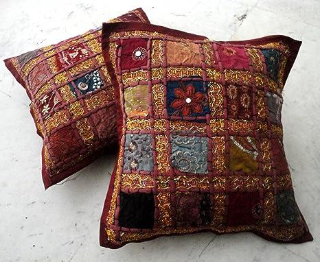Amazon.com: 2 lentejuelas Patchwork Indian Sari fundas de ...
