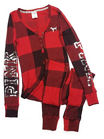 22a942b5de Victoria Secret. Victoria s Secret Pink Holiday Sleep Thermal Bling Pajama  Long Jane One Piece Red Buffalo Check Small at Amazon Women s Clothing  store