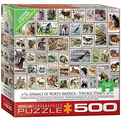 EuroGraphics (EURHR North American Wildlife Vintage Stamps 500Piece Puzzle 500Piece Jigsaw Puzzle: Toys & Games