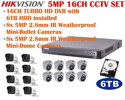 5MP TURBO HD Hikvision 16CH CCTV System with 16CH DVR + 6TB HDD, 8x 5MP