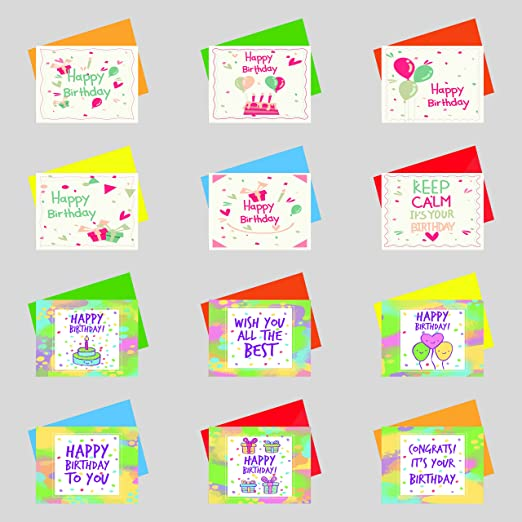Papeteriee Mini cute BIRTHDAY GREETING Cards & Envelopes (12 Assorted sets)  Pack 3