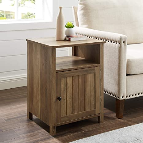 WE Furniture AZF18CRASTRO Side Table, Reclaimed Barnwood