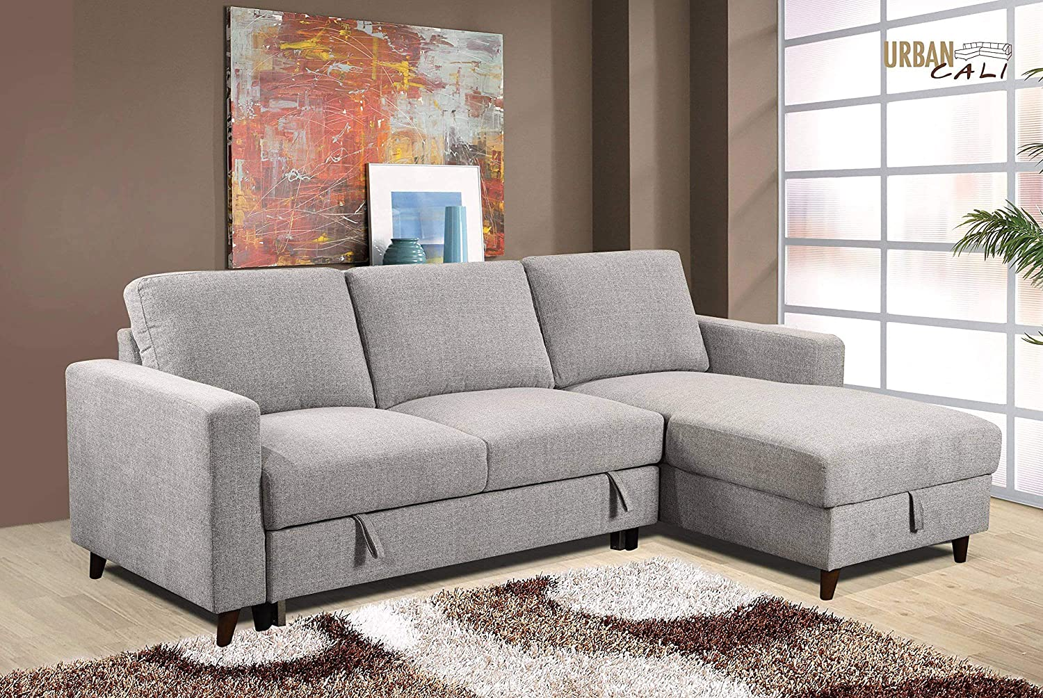 huge selection of ed8d9 cf283 Giancarlo Sleeper Sectional Sofa Bed Couch with Storage in ...