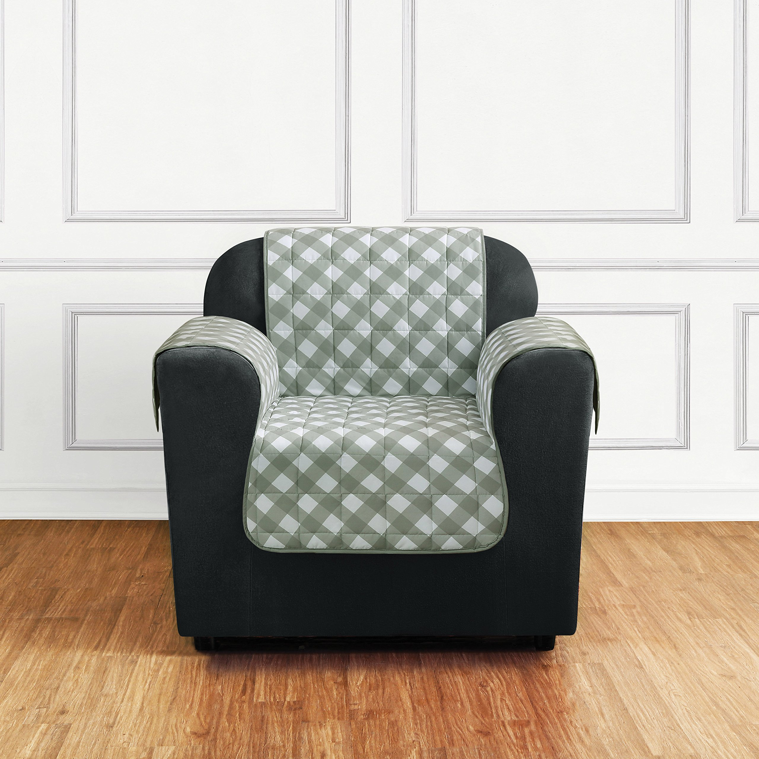MN 1 Piece Light Green Grey Plaid Chair Protector, Gray Hunting Themed Furniture Protection Couch Cabin House Pattern Checked Tartan Pets Animals Covering Soft Lodging Buffalo Checkered, Polyester