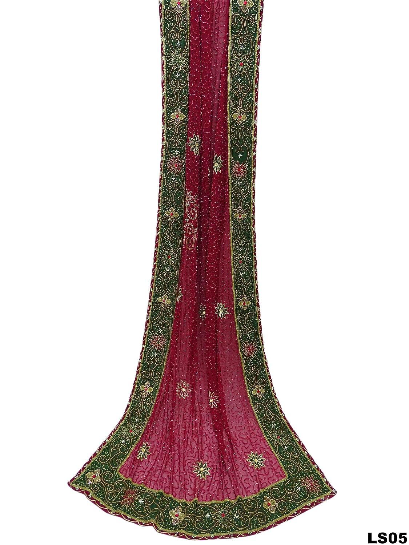 Indische neue traditionelle Braut nicht genäht Lehenga Perlen Stoff ...