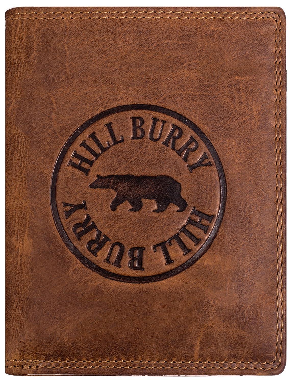 aus weichem hochwertigem B/üffelLeder Hochformat Braun echt Leder Portemonnaie Hill Burry Herren Geldb/örse