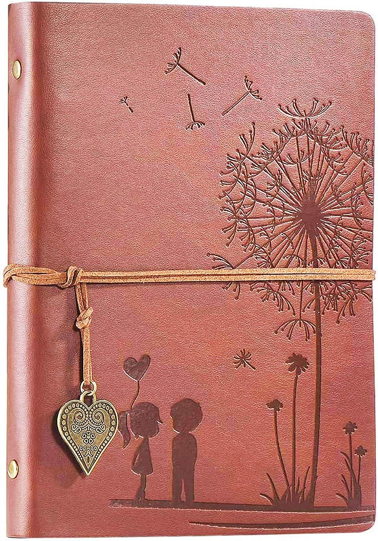 Diario de Viaje Diario Cuaderno Vintage Cuaderno de Cuero A5 Rellenable 100 Hojas / 200 Páginas Papel sin ácido 80GSM La Mejor Idea de Regalo (marrón, A5 21x14.5cm)