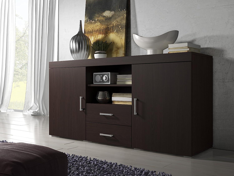 Credenza Dark Brown : E com sideboard cupboard buffet mambo 164cm 2 doors drawers dark