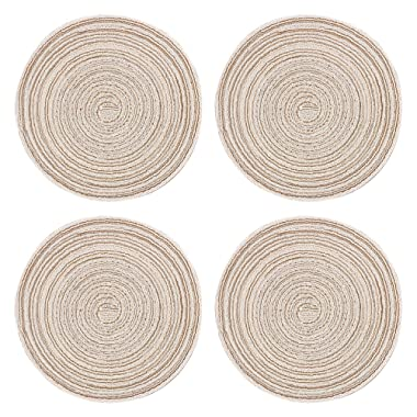 WINIT 4Pcs Round Placemats, Braided Dining Table Mat Handmade Pure Cotton Thread Tightly Woven Instant Hot Pot Holder Dishes Heat Pads Kitchen Coffee Table Coaster