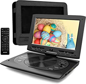 MYDASH Portable DVD Player 12.5 for Car and Kids, 2020 New cd Player Portable with 10.1-inch Swivel Display Screen, SD Card Slot and USB Port, car Headrest Mount Provided, Black