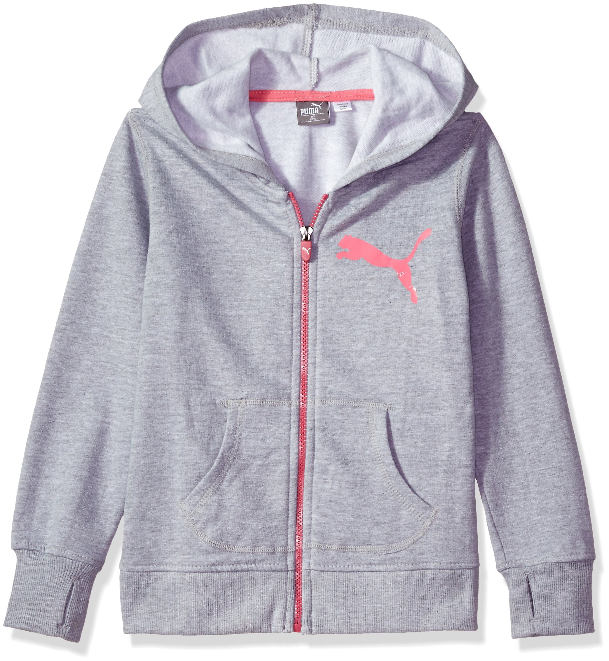 PUMA Big Girls' Hoodie, Light Heather Grey, X-Large (16)