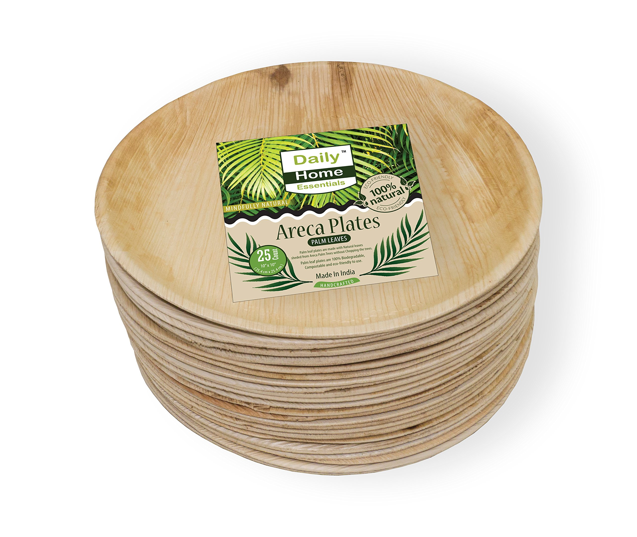 Daily Home Essentials 10'' Round Palm Leaf Plates Serves 25 | Eco Friendly Biodegradable Disposable Dinnerware For Wedding, Dinner Party, Camping, Takeout & More.