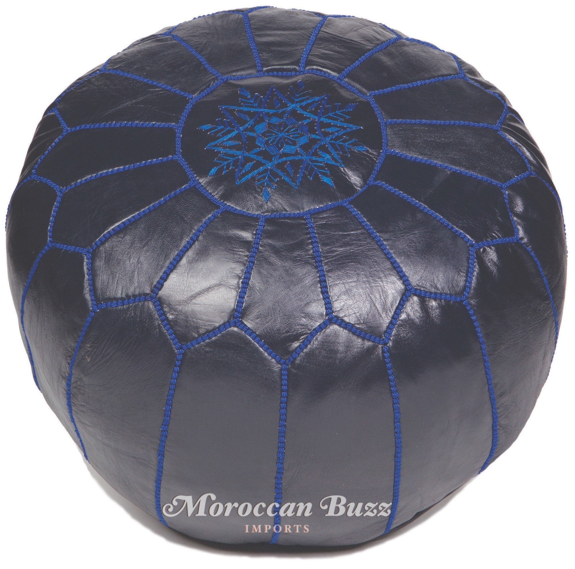 Moroccan Buzz Premium Leather Pouf Ottoman Cover, Navy Blue (UNSTUFFED Pouf)