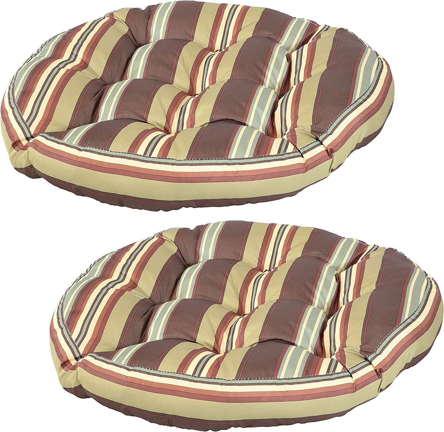 Sunnydaze Tufted Large Round Floor Cushion - Set of 2 - Unique Outdoor/Indoor Chair Cushions or Meditation Cushions - 300D Olefin with Polyester Fill - 22-Inch Diameter - Chocolate Stripes