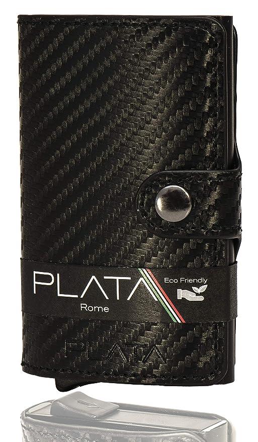 34f82beb8f Porta Carte di Credito PLATA-Schermato con blocco anti RFID, In pelle PU e  fibra di ...