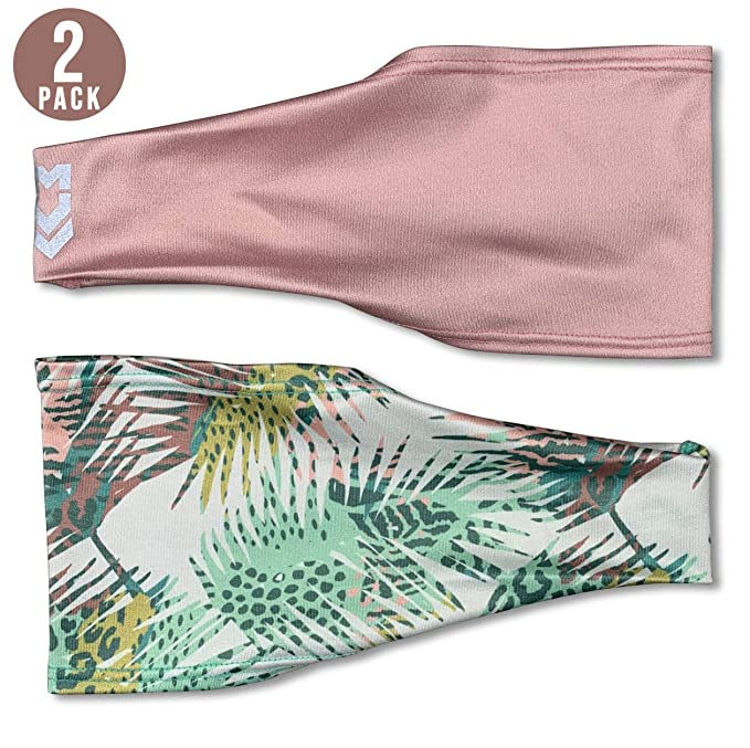 MUV365 Headbands for Women | Workout, Running, Yoga, Wide Sports Head Bands | Headband Protects with SPF 50+, Keeps Sweat from Dripping in Eyes & is Non-Slip (One Size Fits Most, Palm Leaf + Blush) best fitness headbands