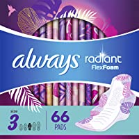 Always Radiant Feminine Pads with Wings for Women, Size 3, Extra Heavy Overnight, Light Clean Scent, 22 Count - Pack of…