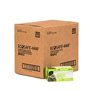 EcoSafe RP1617-6 Retail Pack Kitchen Caddy Certified Compostable Bag, 2.5 g, Green (Case of 24 Retail, Packs of 30 Bags) (Pack of 720)