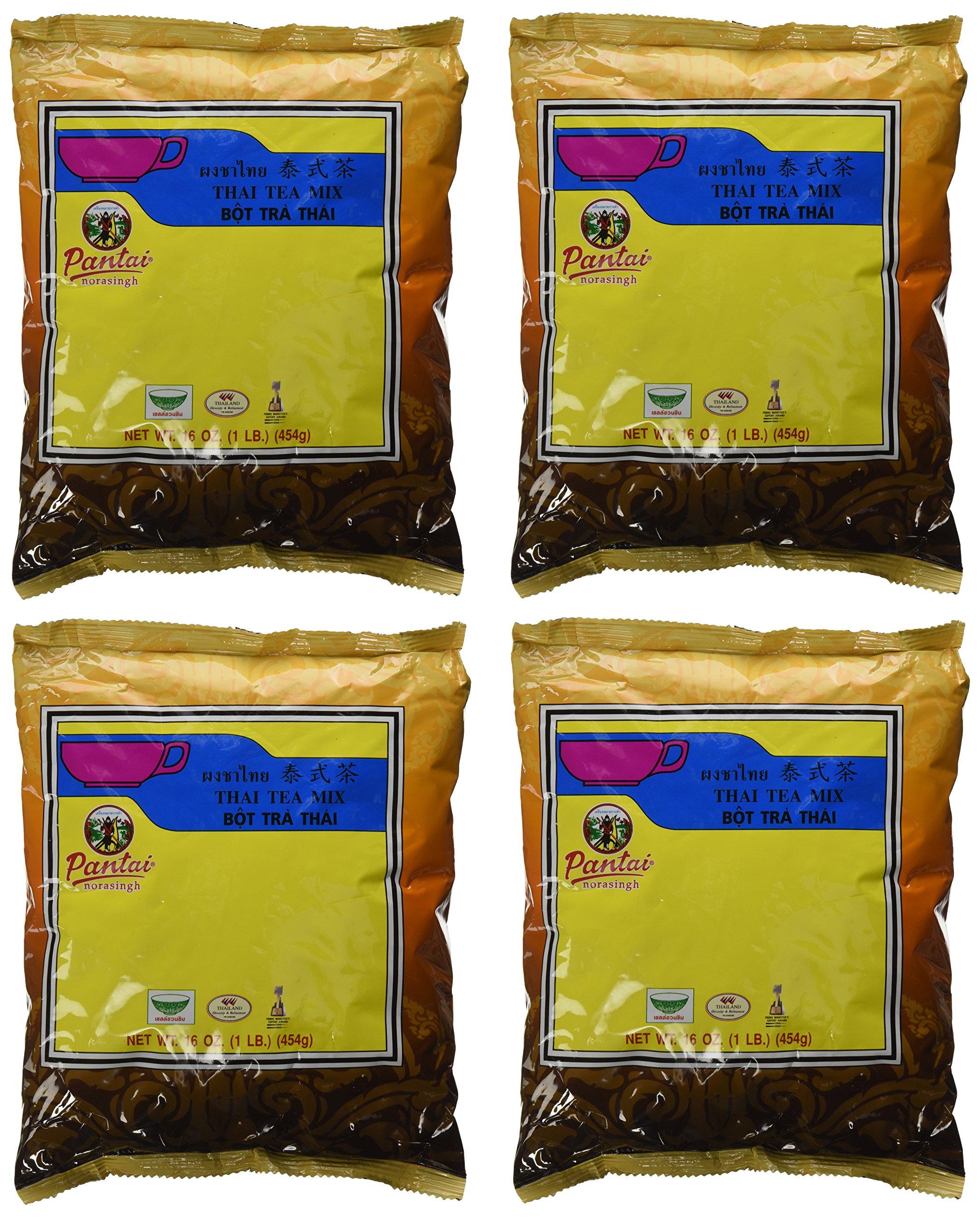 Pantainorasingh Thai Tea Mix, 16-Ounce Bags (Pack of 4) by Pantai Norasingh