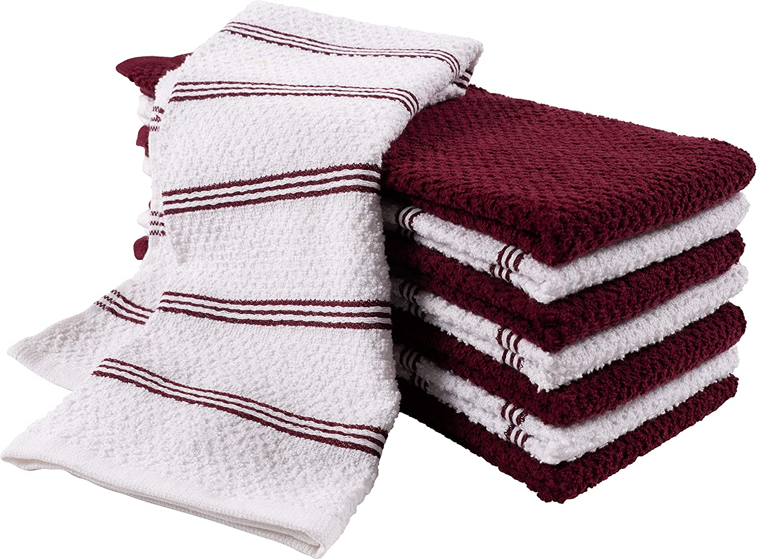 KAF Home Pantry Piedmont Kitchen Towels (Two Sets of 4, 16x26 inches), Absorbent Cotton Terry Towels - Wine Red