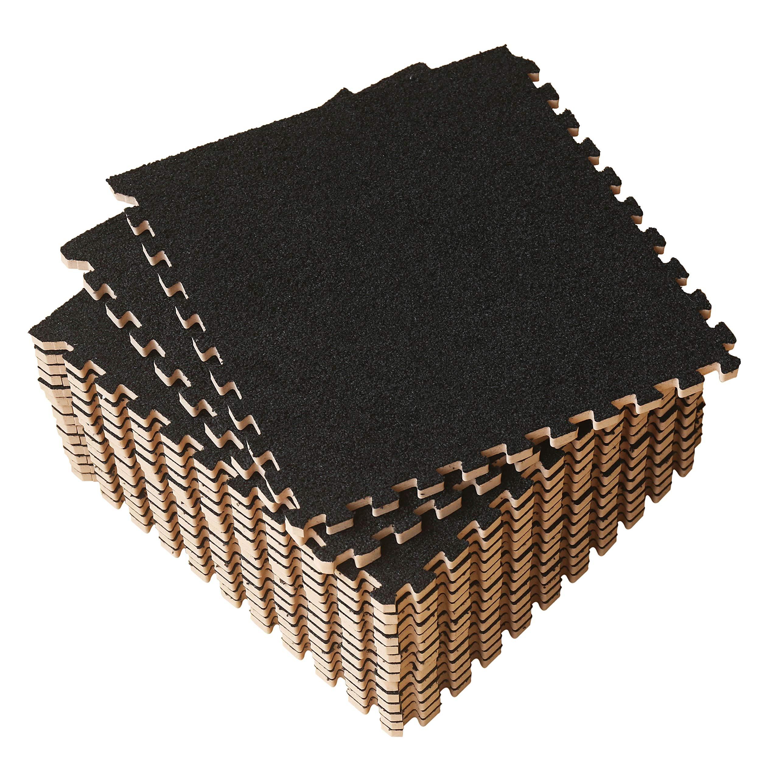 LaFamille Interlocking Foam Floor Mat 16 Tiles 16 sq.ft Puzzle Carpet Flooring Exercise Square Mats Gym,Playroom Floor Mats for Carpet 1'x1' (Black)