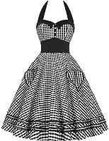 GRACE KARIN® Damen 50s Vintage Rockabilly Kleid Neckholder Kleid Partykleider