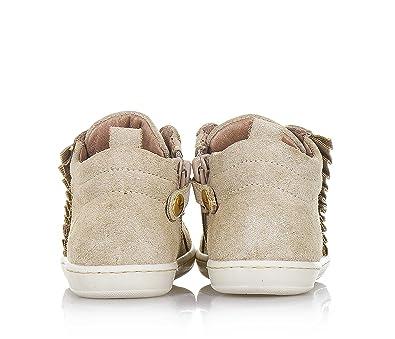 WALKEY - Chaussure beige à lacets en croûte avec glitter, fermeture éclair latérale, une spéciale semelle, Fille, Filles-18