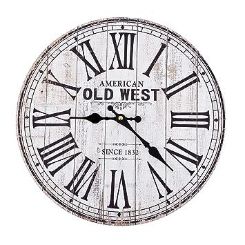 Dadeldo-Home Reloj de Pared - Old West de Vintage Diseño Madera 34 x 34 cm Blanco de Negro Decoración: Amazon.es: Juguetes y juegos