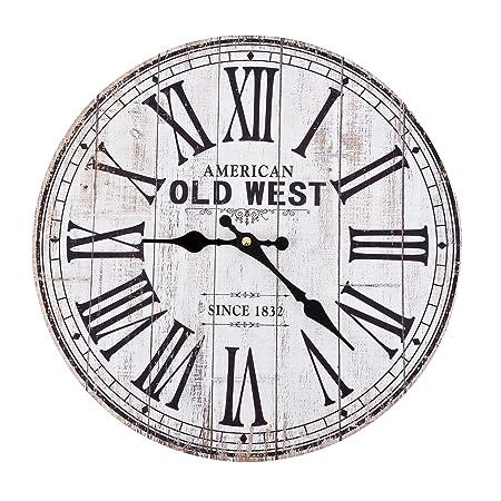 Dadeldo Home Wanduhr Old West Vintage Design Holz 34x34cm Weiss