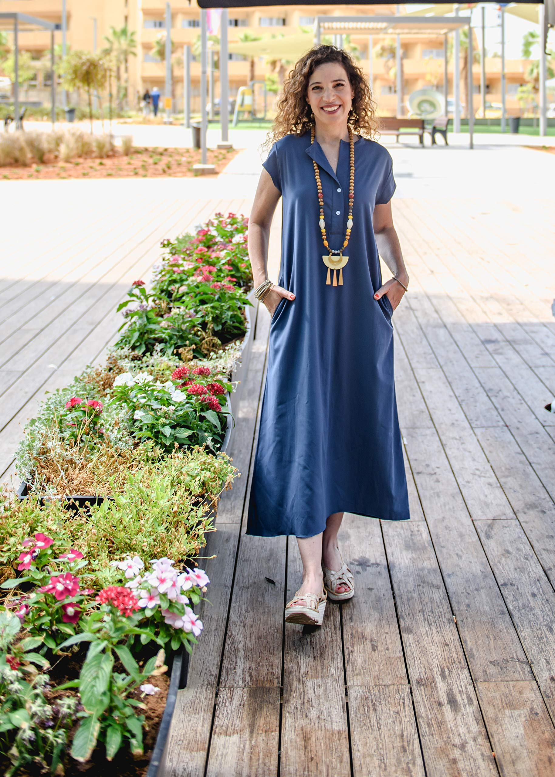 Maxi Oversized Blue Viscose Button Dress, Casual Or Evening Handmade Designer Women's Wide Dress with Side Pockets and V Neckline, Size 6-12