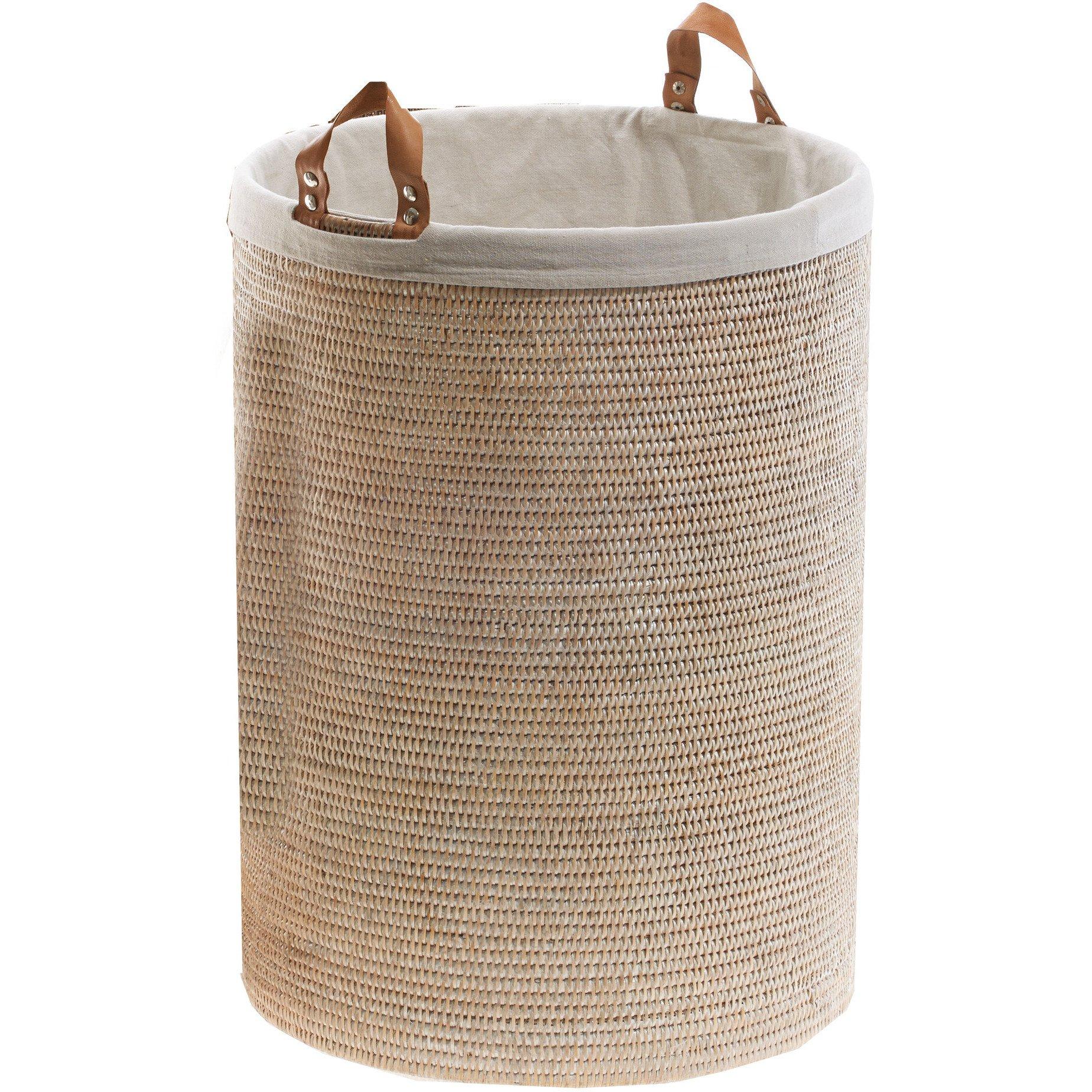 DWBA Malacca Single Round Spa Hamper Laundry Basket with Handles - Rattan (Light Rattan)