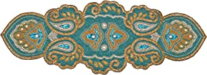 Beaded Table Runner, Glitz Table Runner, Decorative Table Runner, Farmhouse Table Runner - Hand Made by Skilled Artisans - A Beautiful Complement to Your Dinner Table Décor - 13x36 Inch - Teal Gold