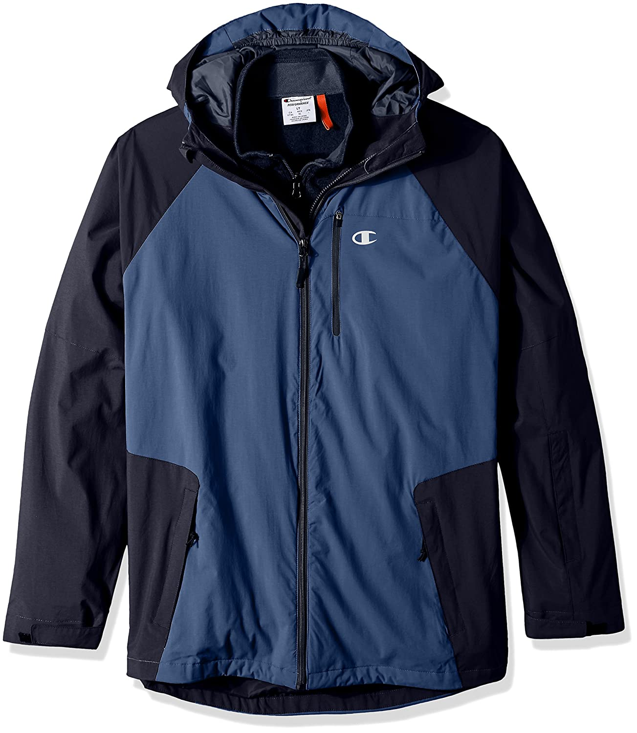 Champion Men's Tall Size Technical Ripstop 3-in-1 System with Sweater Fleece Inner Shell Jacket Concrete X-Large Champion Mens Outerwear CH4003PSWT