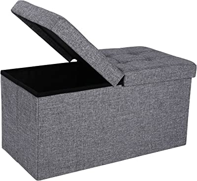 """SONGMICS 30"""" L Fabric Ottoman Bench with Lift Top, Storage Chest Foot Rest Stool, Dark Grey ULSF40H"""