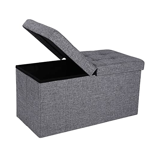 SONGMICS 30 Inches Fabric Storage Ottoman Bench with Lift Top, Storage Chest Foot Rest Stool, Dark Gray ULSF40H