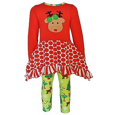 20cc05fc5c414e AnnLoren Toddler Girls 2/3T Christmas Reindeer Tunic and Holiday Legging Set