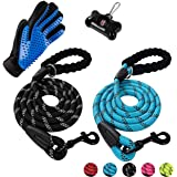 Poohoo 2 Pack Dog Leashes, 5 FT Heavy Duty Pet Leash with Comfortable Padded Handle and Highly Reflective Threads for…