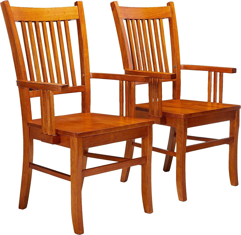 Marbrisa Slat Back Arm Chairs Sienna Brown Set of 2